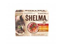 Shelma kapsa pro kočky 4 druhy masa 12x85 g