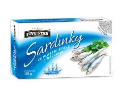 Five Star Sardinky ve vlastní šťávě 125 g
